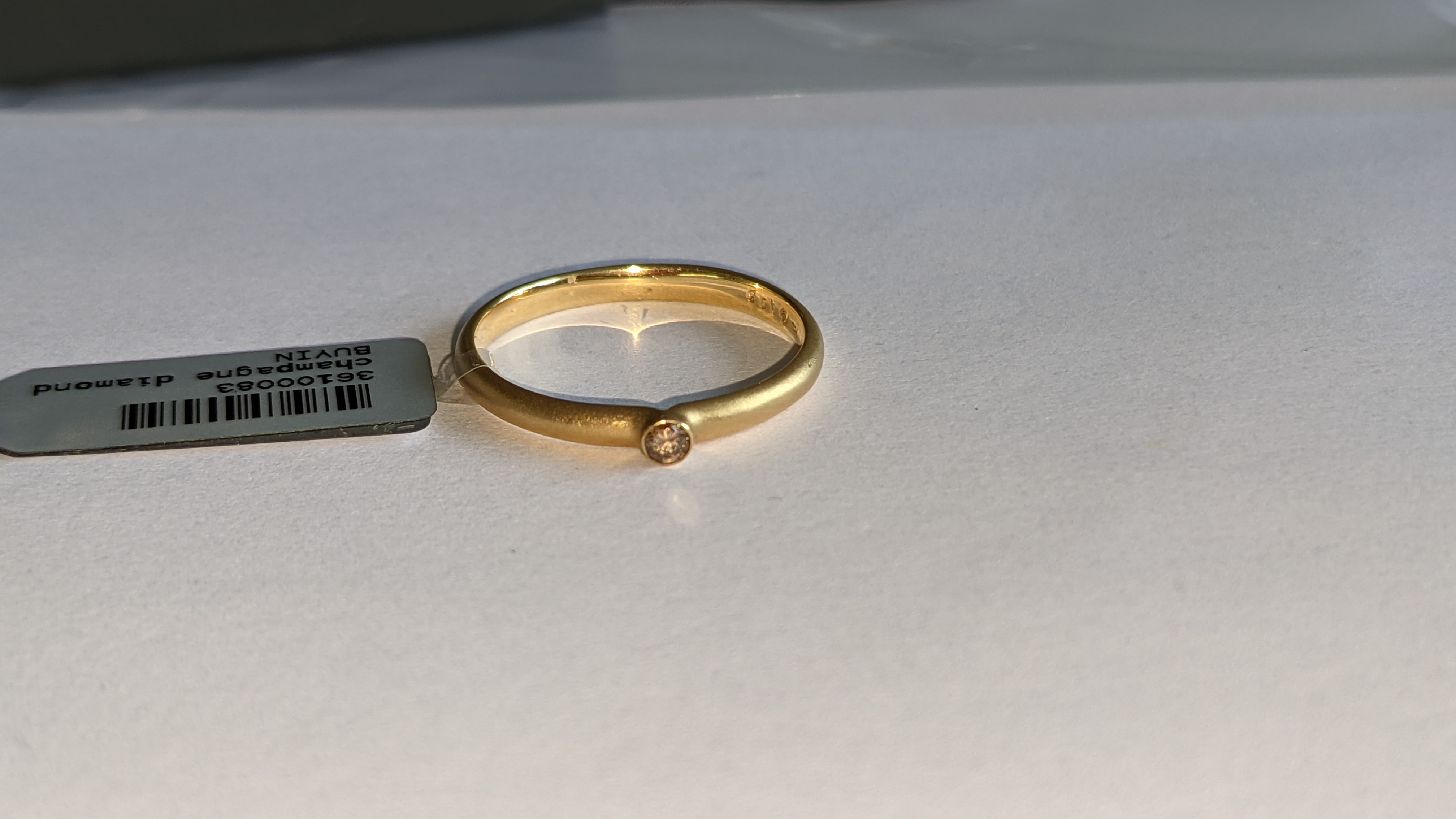 18ct yellow gold & champagne diamond ring RRP £695 - Image 6 of 14
