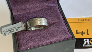 Platinum 950 8mm striped wedding band. RRP £1,090