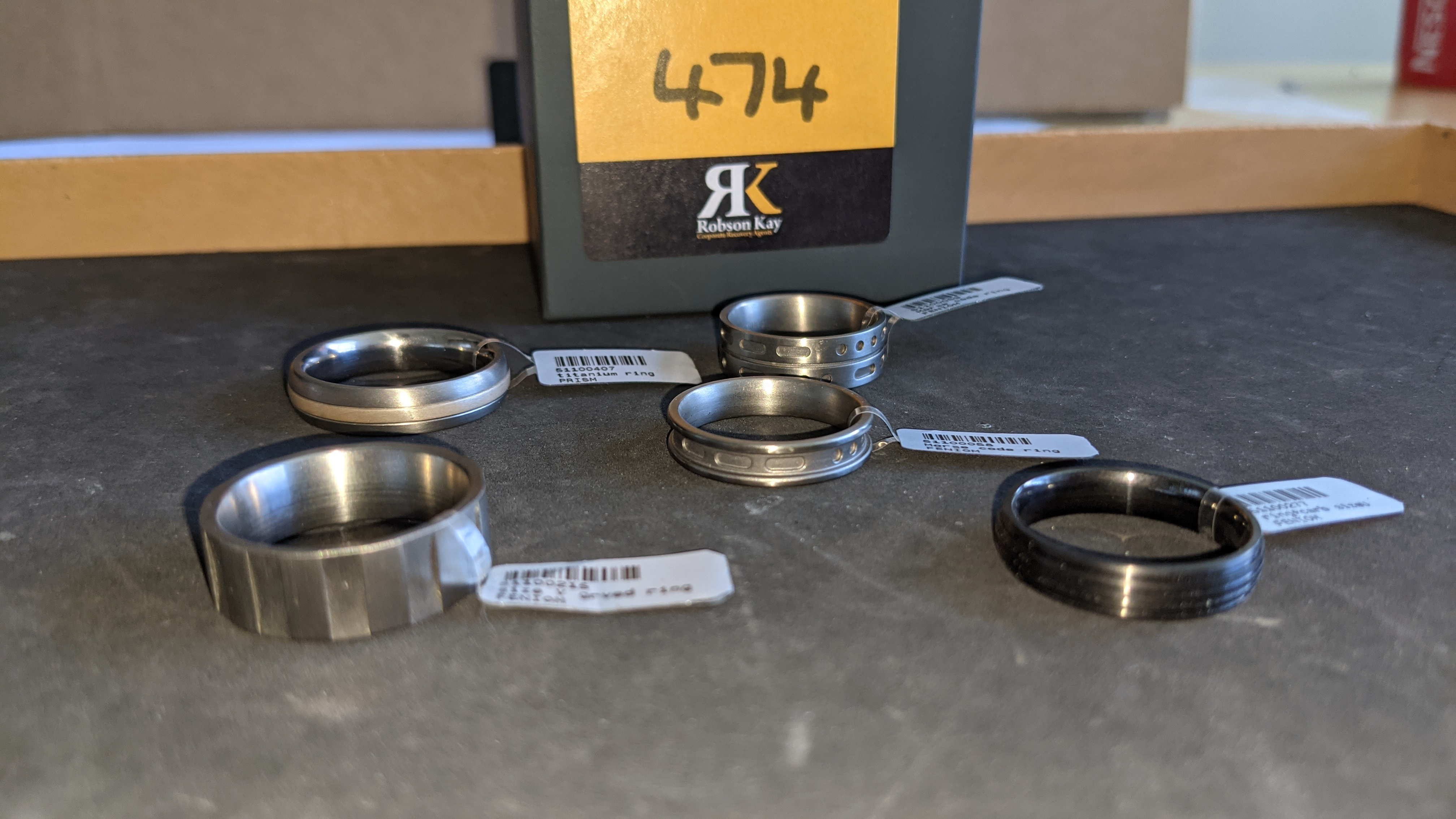 5 off assorted titanium rings with RRP from £109 - £179 per ring. Total RRP is £785