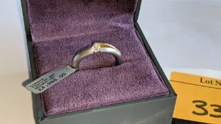 Platinum 950 ring with central diamond weighing 0.27ct & rose gold finish to small area of the mount
