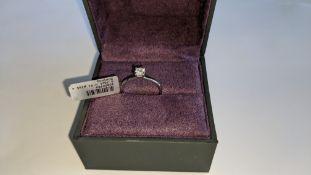 Single stone diamond & platinum 950 ring with 0.35ct H/Si diamond, RRP £1,507