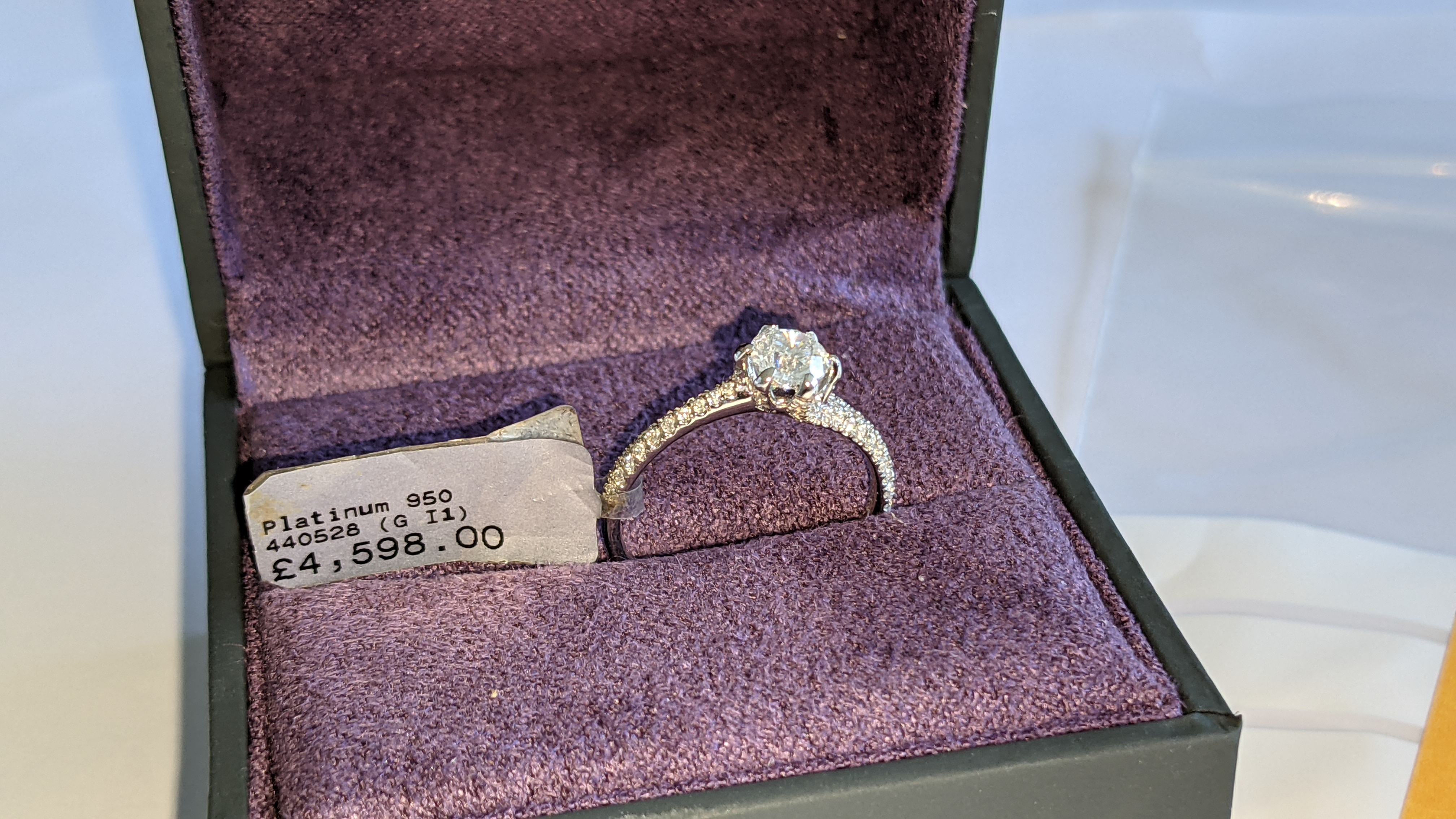 Platinum 950 diamond ring with 0.55ct central stone & 0.348ct of smaller stones on the shoulders. RR - Image 2 of 16