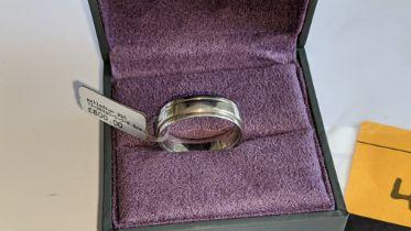 Palladium 950 6.5mm ridged wedding band. RRP £800