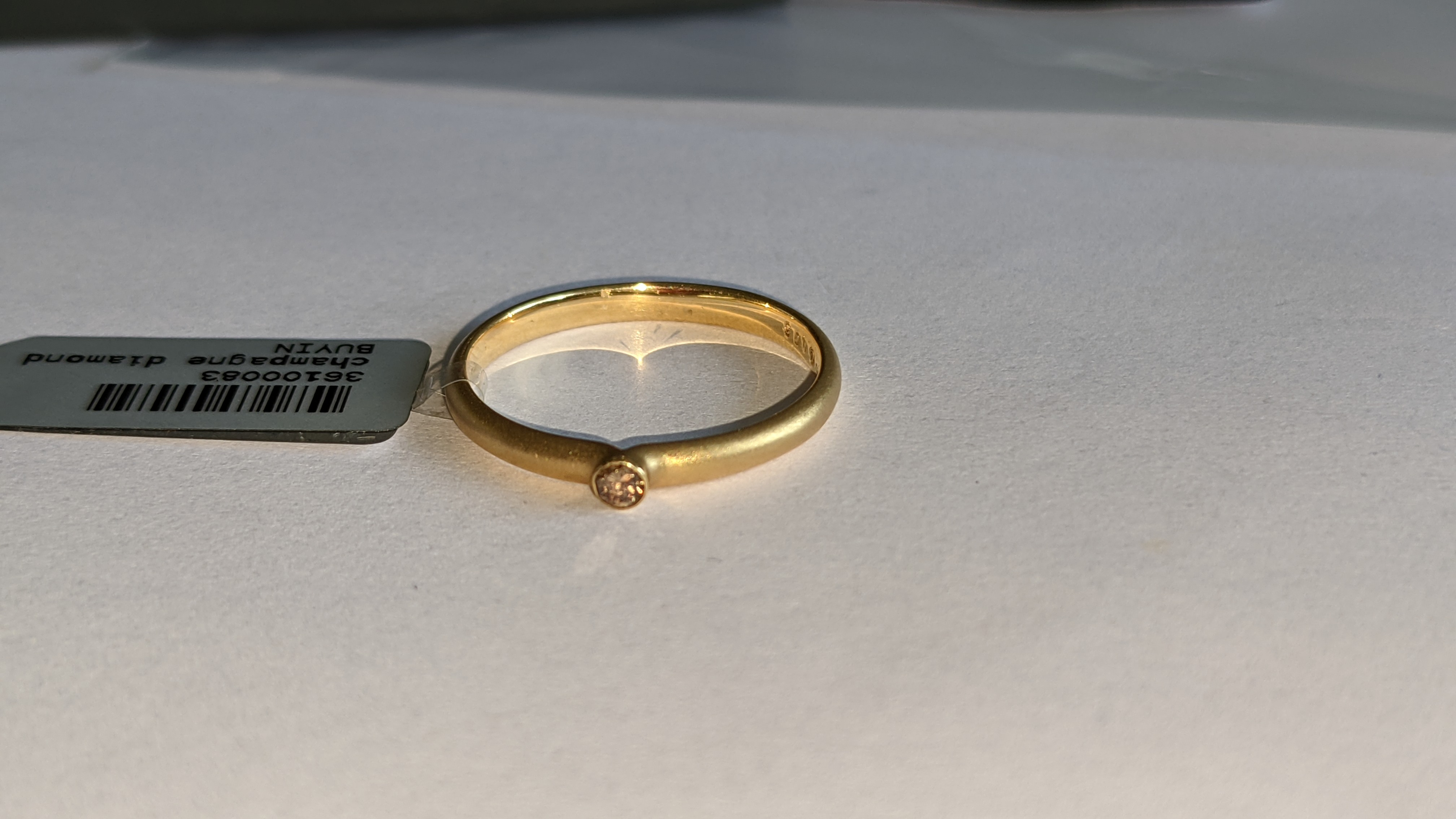 18ct yellow gold & champagne diamond ring RRP £695 - Image 5 of 14