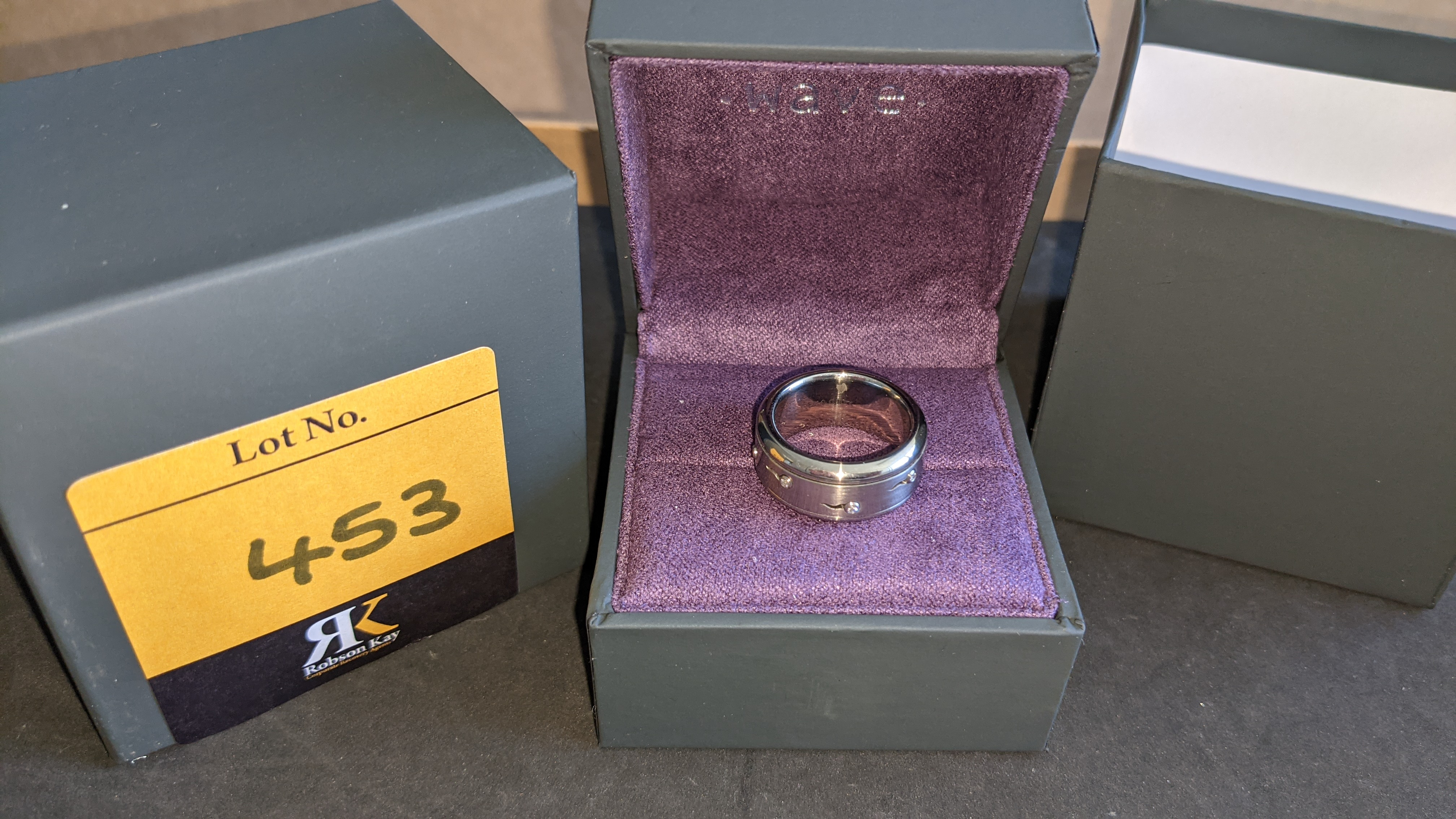 Stainless steel & diamond spin ring RRP £455