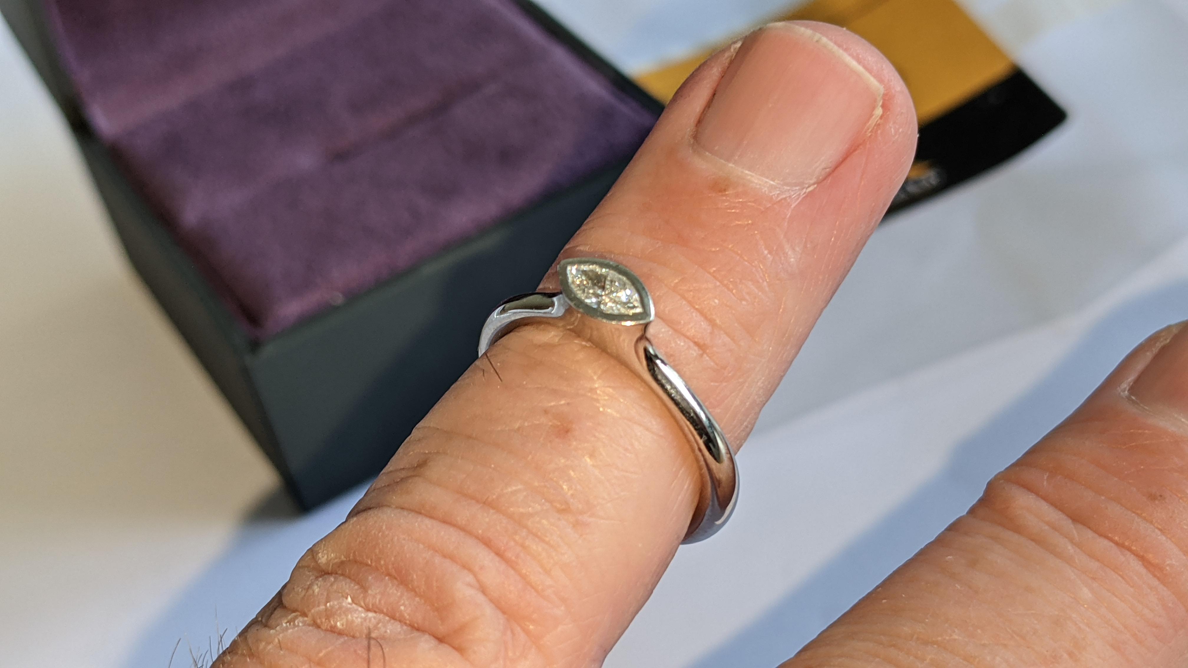 Platinum 950 & diamond ring with 0.22ct of G/VS diamond. RRP £2,502 - Image 12 of 14