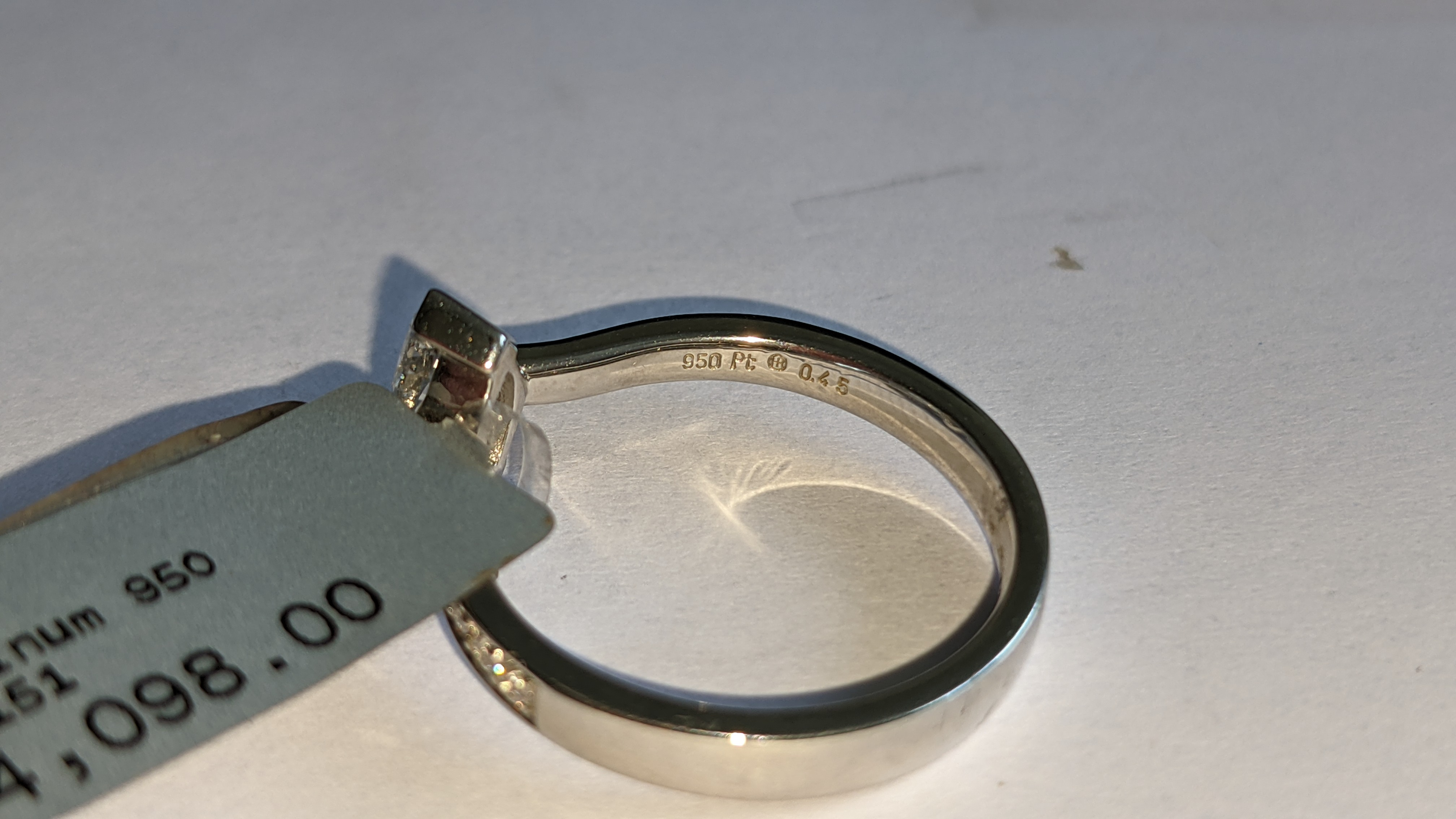 Platinum 950 ring with marquise shaped central diamond plus diamonds on the shoulders either side, t - Image 10 of 16