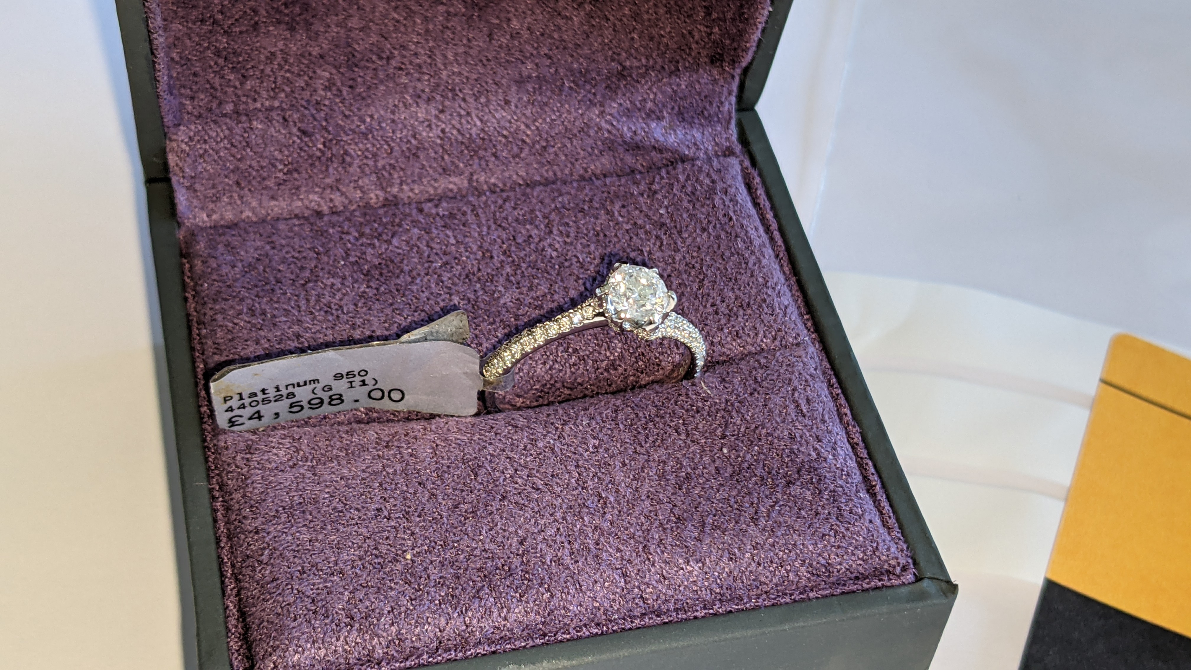 Platinum 950 diamond ring with 0.55ct central stone & 0.348ct of smaller stones on the shoulders. RR - Image 3 of 16