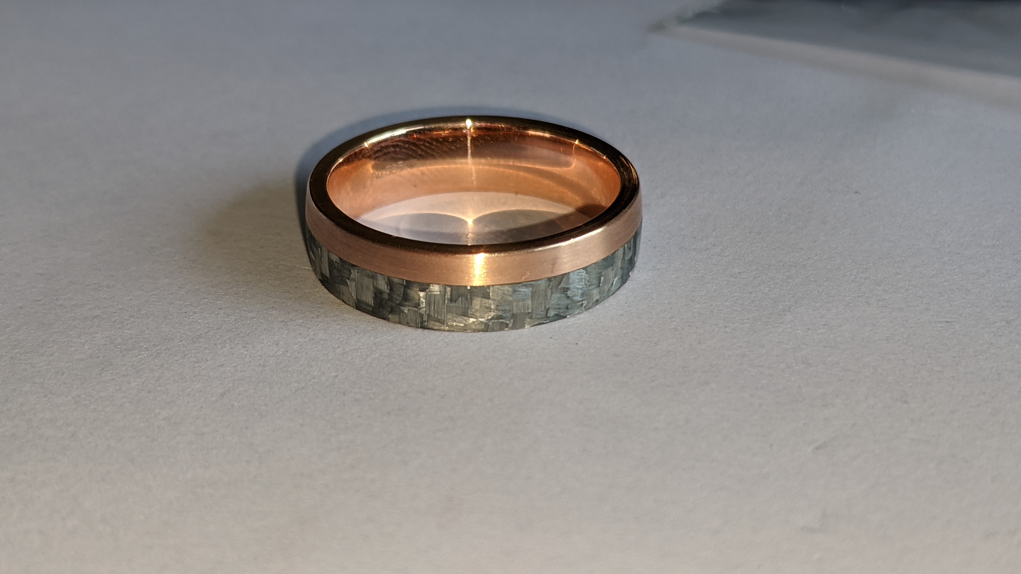 Carbon & 14ct rose gold ring RRP £705 - Image 7 of 13