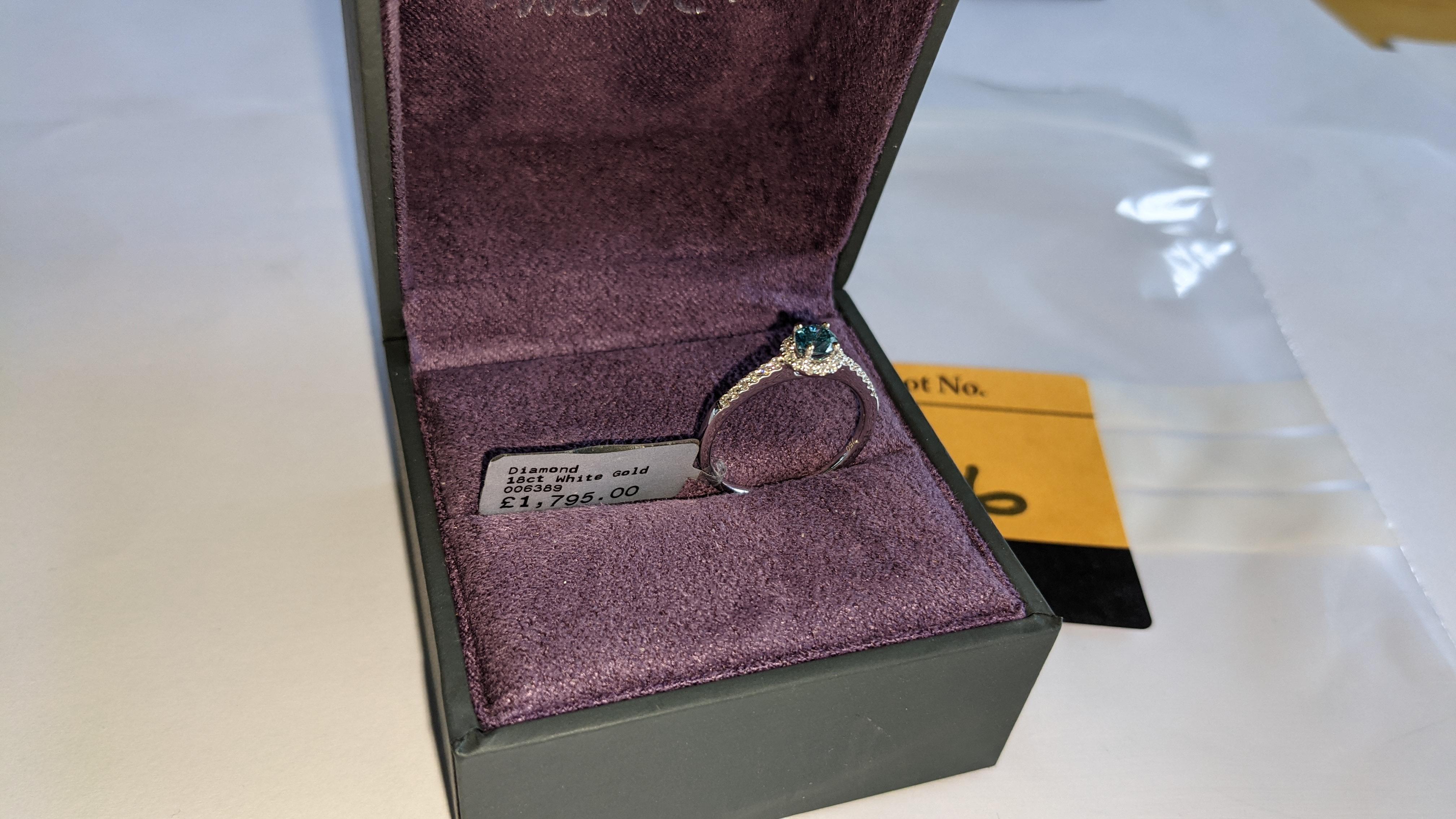 18ct white gold & diamond ring with 0.30ct blue diamond & 0.1ct of additional diamonds around the ce - Image 3 of 19