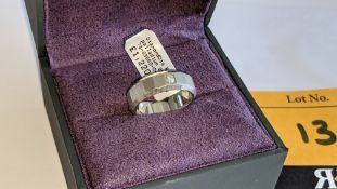 Platinum 950 unusually faceted Palladium 950 ring with single diamond weighing 0.05ct. RRP £1,220