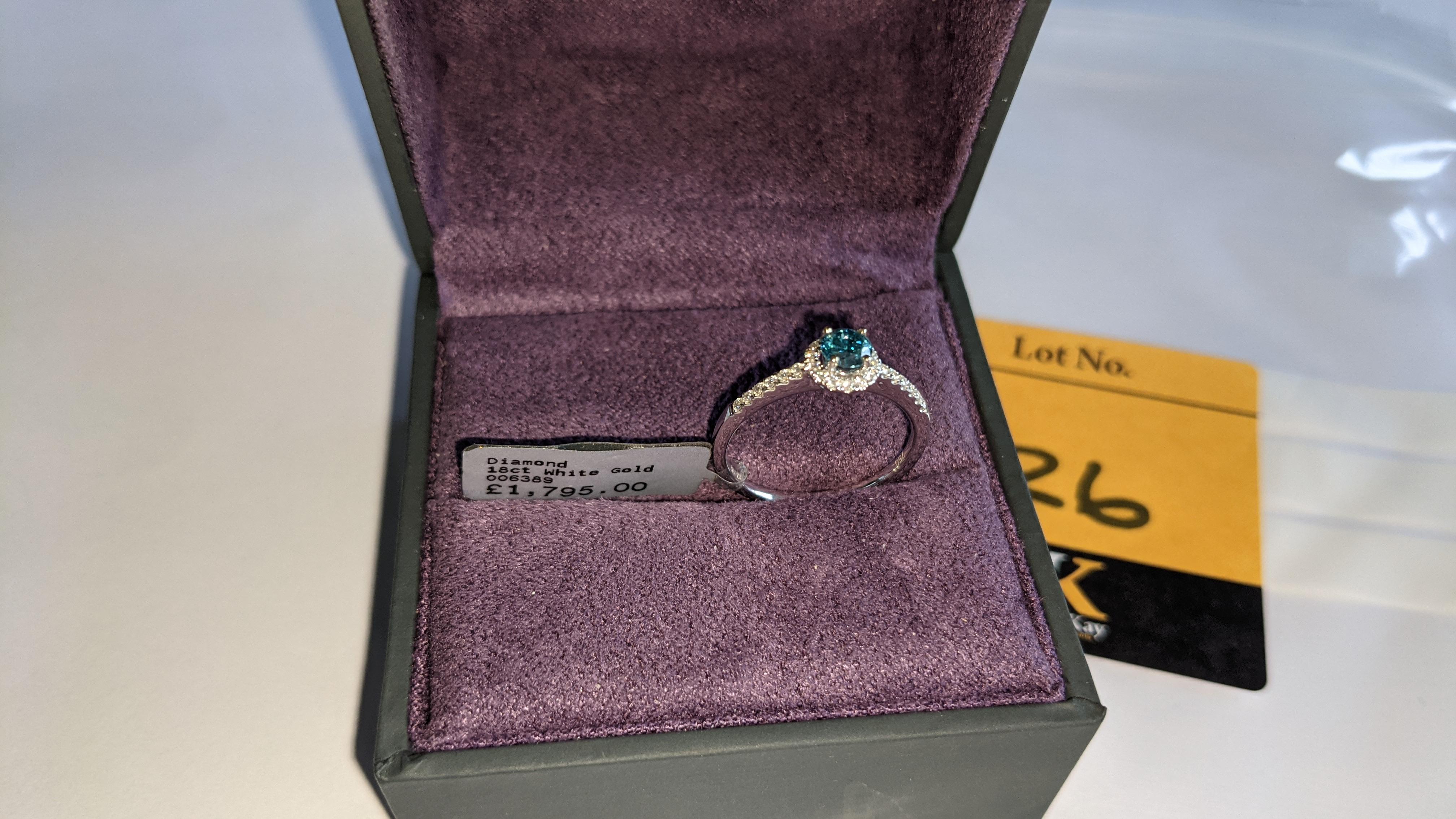 18ct white gold & diamond ring with 0.30ct blue diamond & 0.1ct of additional diamonds around the ce - Image 4 of 19