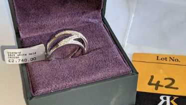18ct white gold & diamond ring in crossover style. RRP £2,740