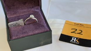 Platinum 950 diamond ring with 0.55ct central stone & 0.348ct of smaller stones on the shoulders. RR