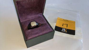 Black rubber, platinum 950 & diamond ring with 0.35ct of diamonds. RRP £1,890