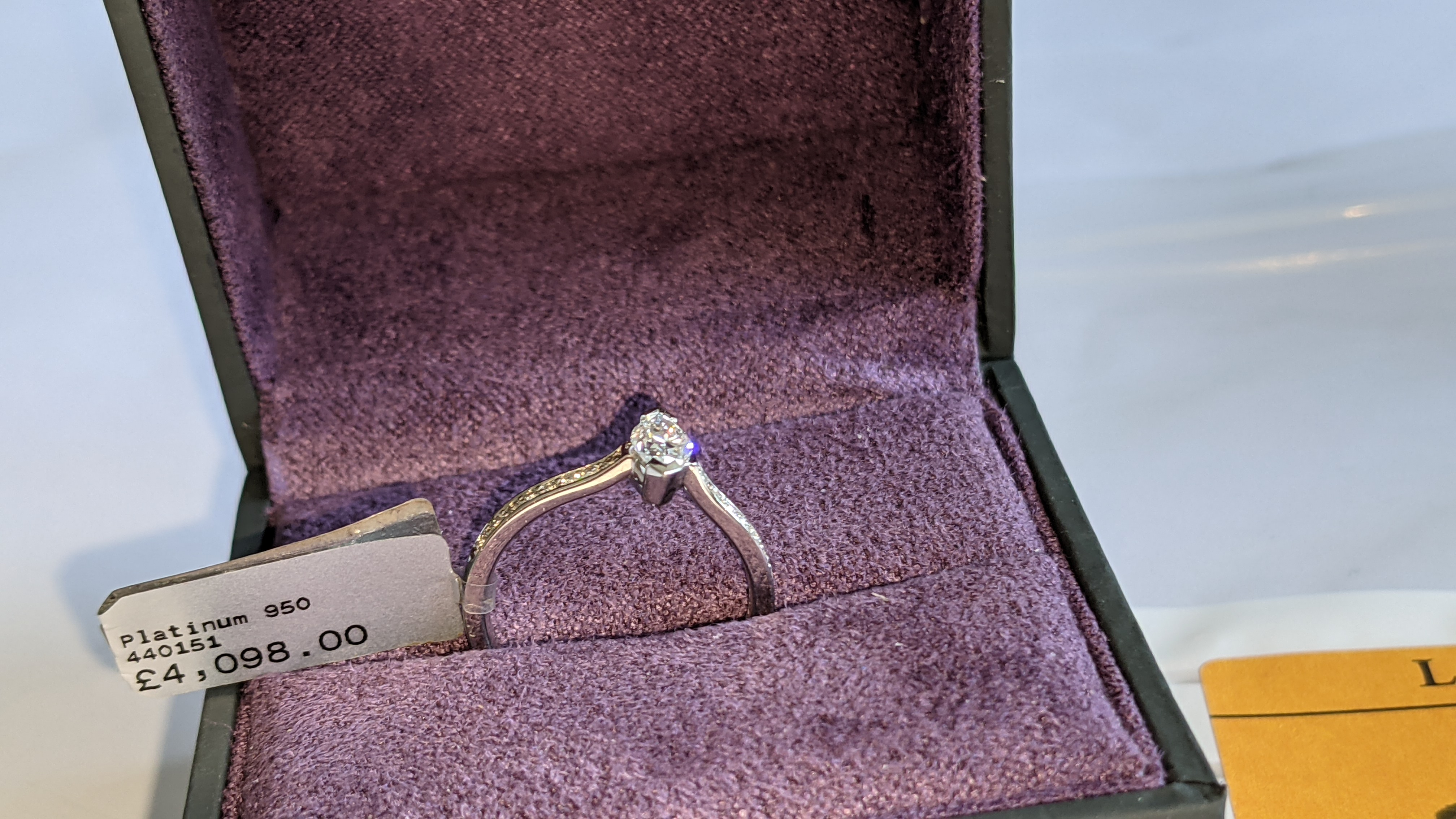 Platinum 950 ring with marquise shaped central diamond plus diamonds on the shoulders either side, t - Image 3 of 16