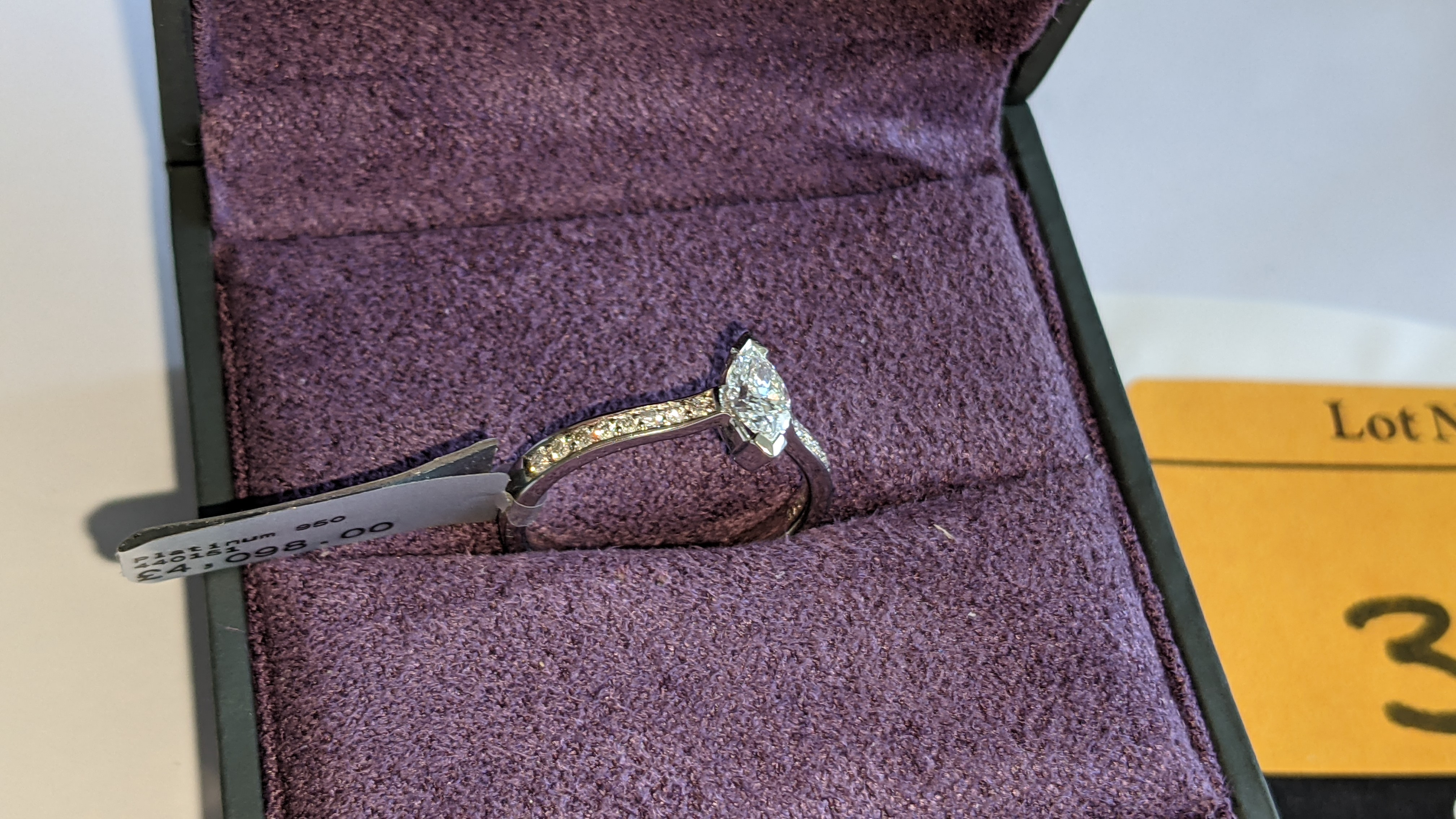 Platinum 950 ring with marquise shaped central diamond plus diamonds on the shoulders either side, t - Image 5 of 16