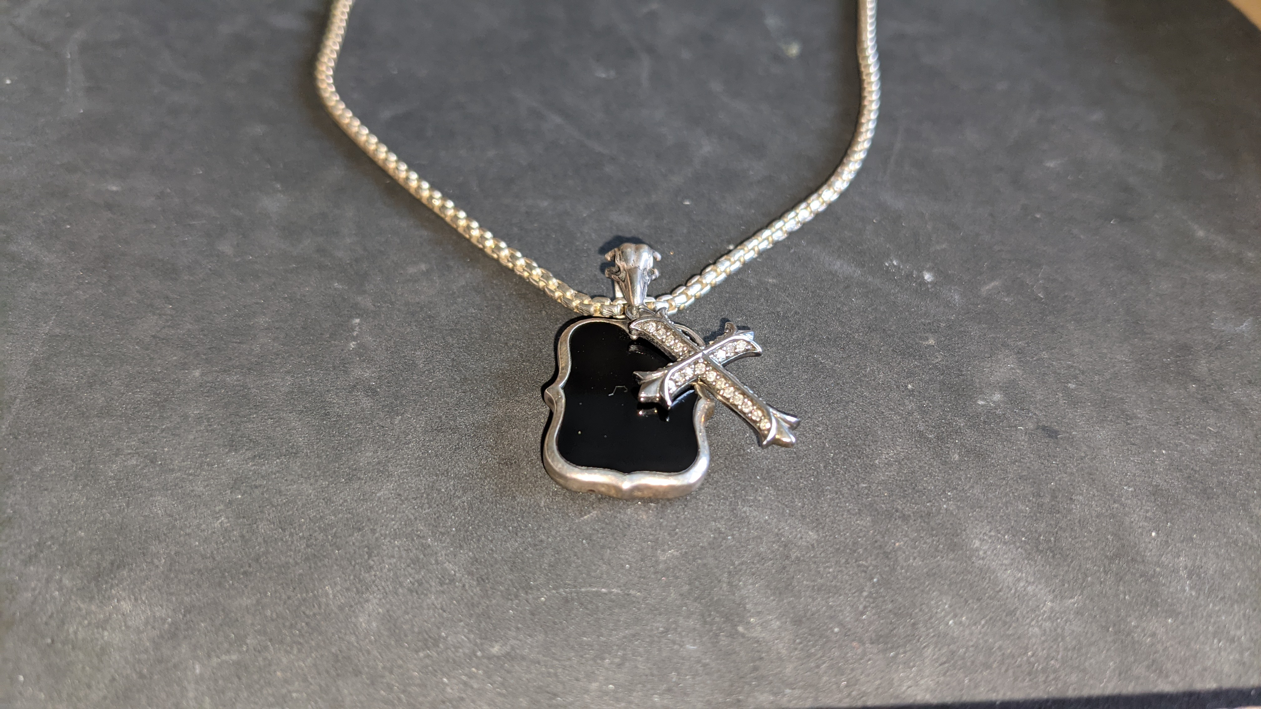 Silver gothic cross pendant on long chain RRP £489 - Image 6 of 12