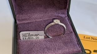 18ct white gold & diamond ring with 0.36ct diamonds on the shoulders & around the central stone. RRP