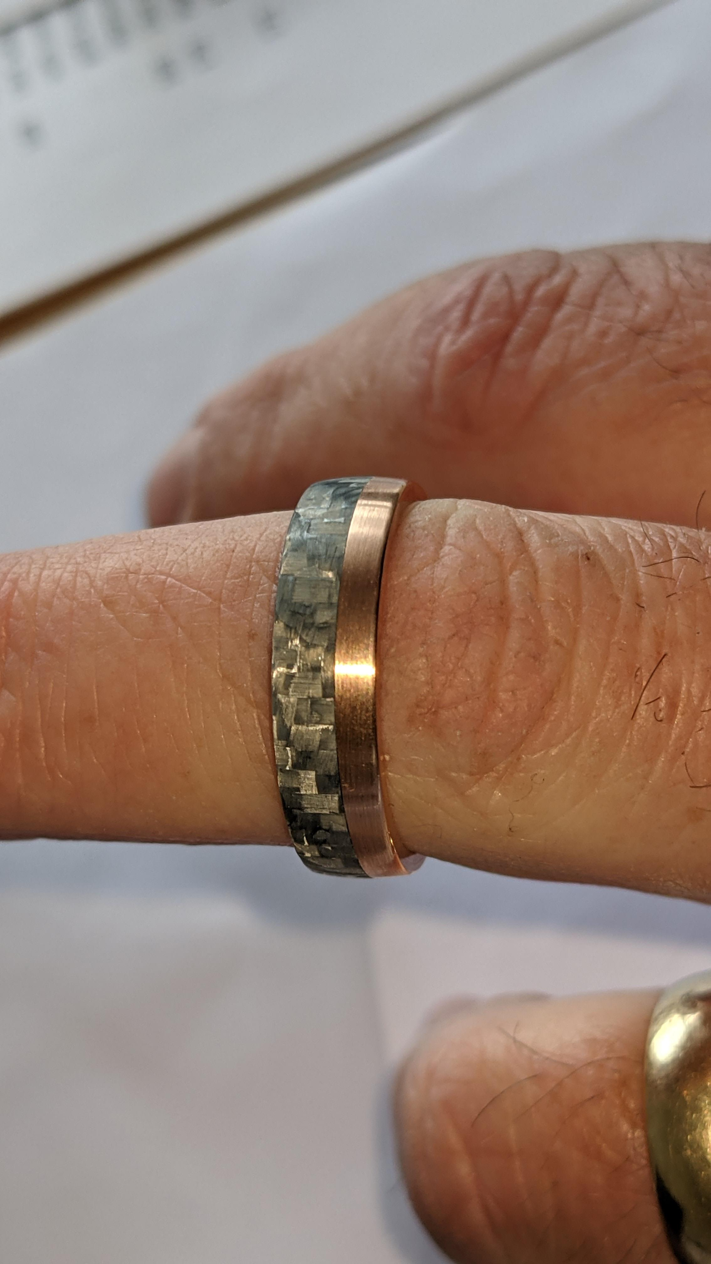Carbon & 14ct rose gold ring RRP £705 - Image 12 of 13