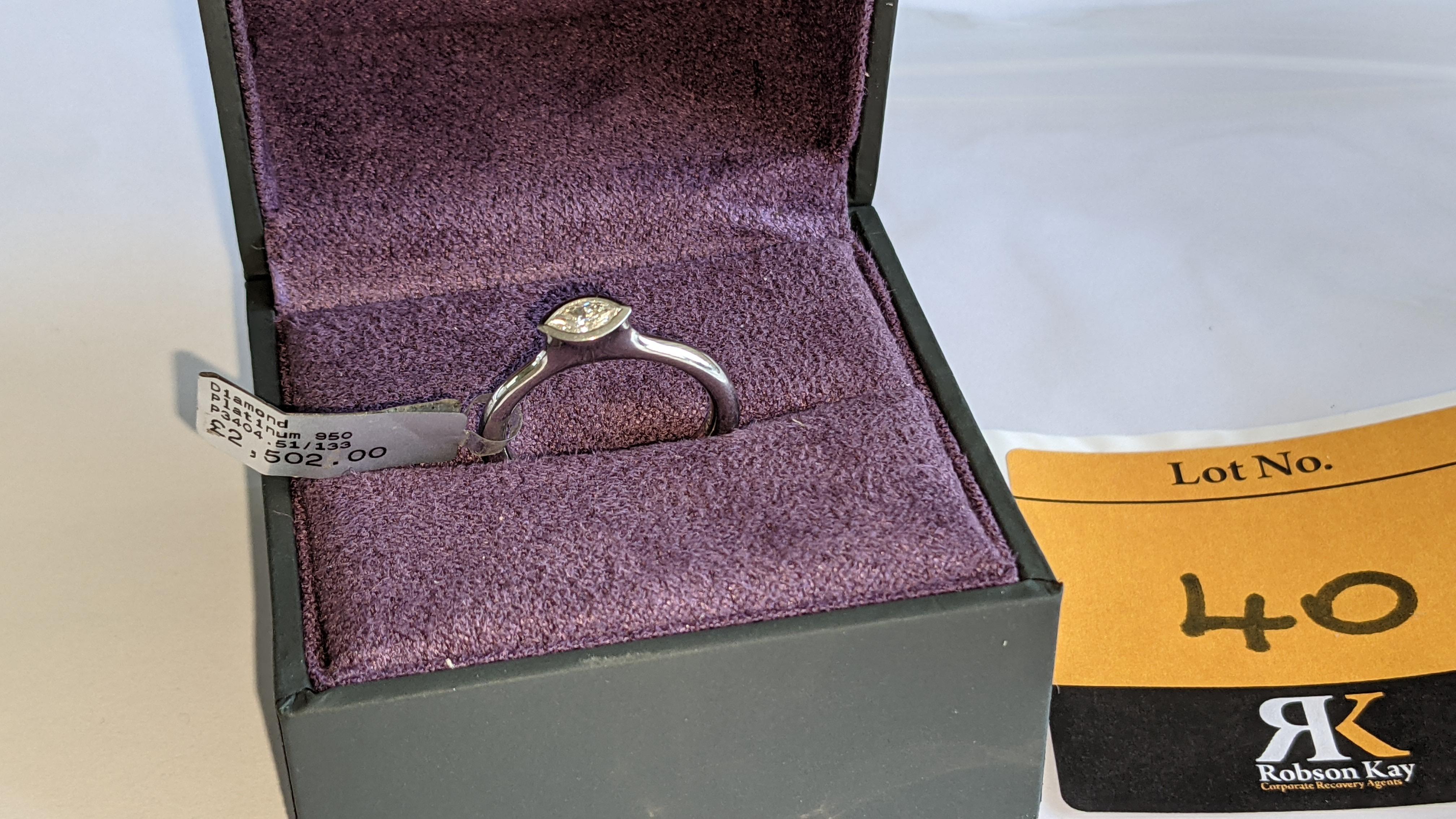 Platinum 950 & diamond ring with 0.22ct of G/VS diamond. RRP £2,502 - Image 2 of 14