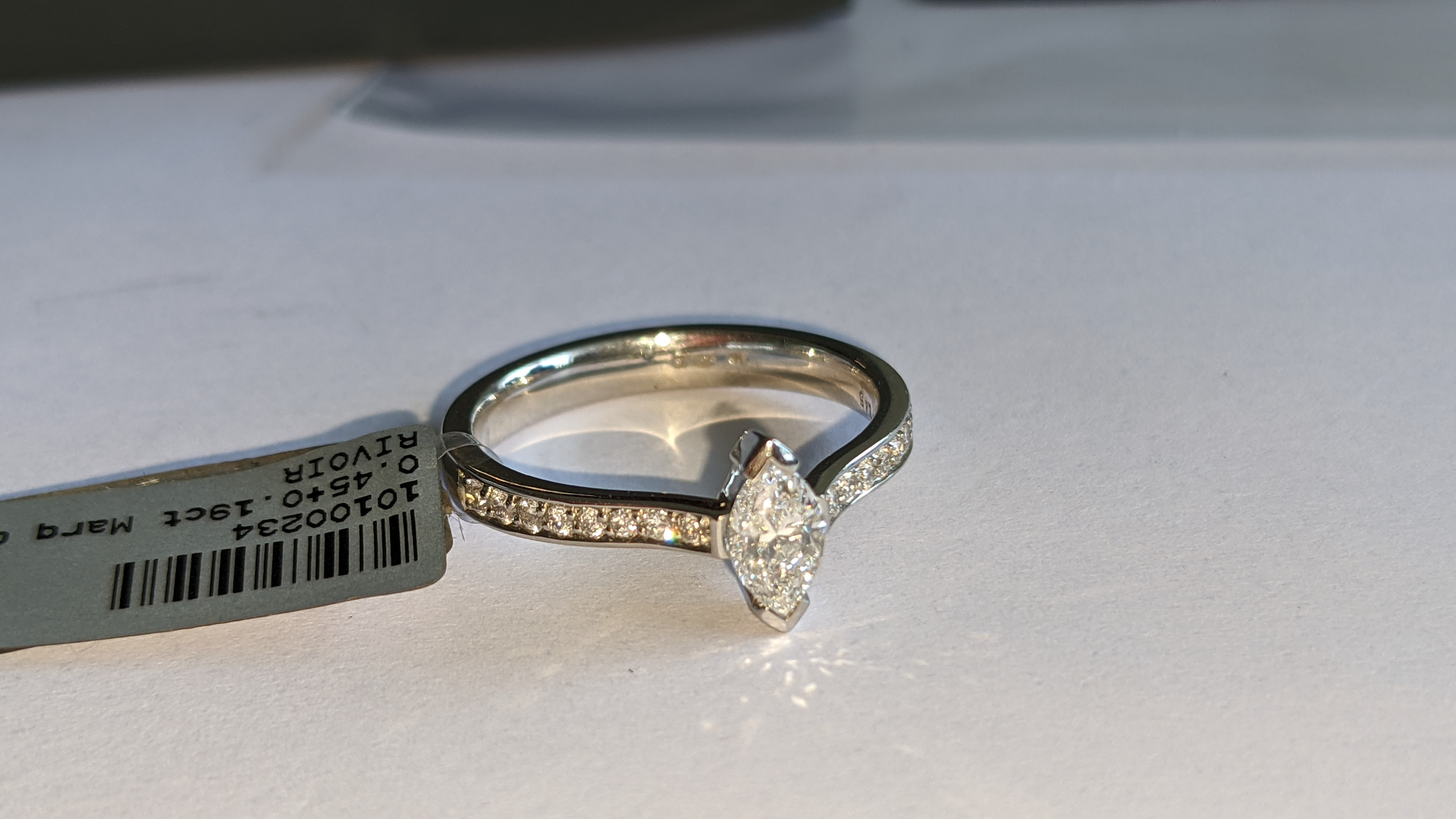 Platinum 950 ring with marquise shaped central diamond plus diamonds on the shoulders either side, t - Image 6 of 16