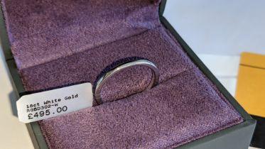18ct white gold plain wedding ring. RRP £495