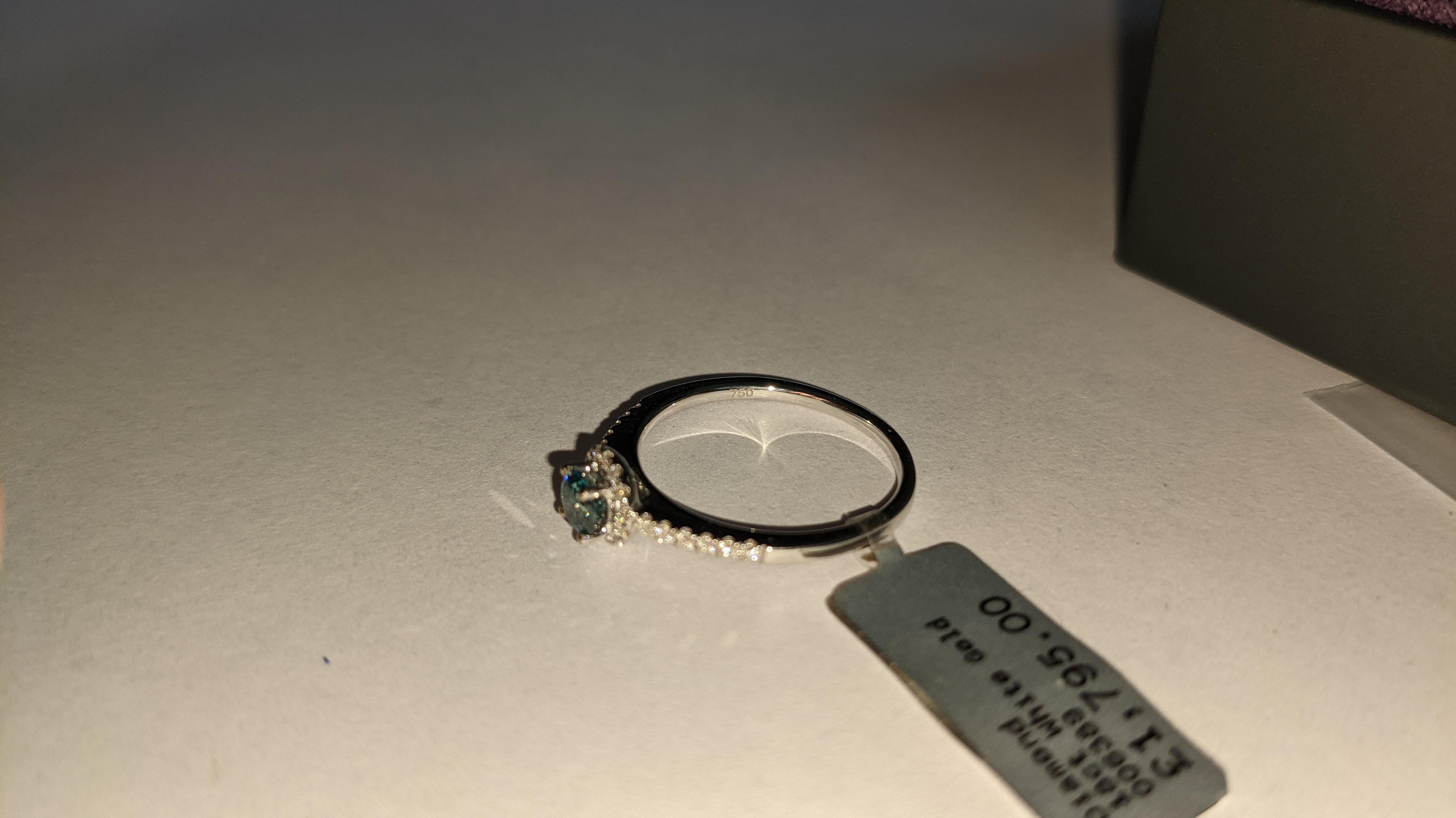 18ct white gold & diamond ring with 0.30ct blue diamond & 0.1ct of additional diamonds around the ce - Image 12 of 19