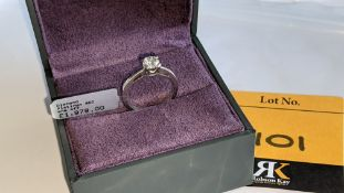 Platinum 950 ring with 0.50ct diamond. Includes diamond report/certification indicating the central