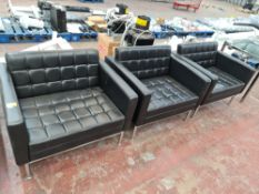 3 off Teknion Aegis modern wide black leather & chrome matching chairs