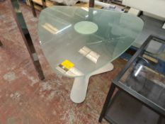 Unusually shaped frosted glass table on silver single pedestal base