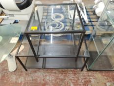 Pair of matching occasional tables with glass tops, one square & one rectangular