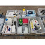 The contents of 5 large crates of assorted items including hygiene dental consumable bags