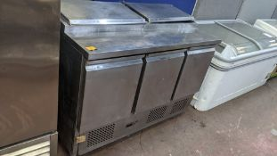Empire, model P5300, stainless steel mobile refrigerated prep cabinet with 3 doors across the front