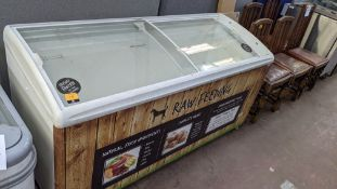 Clear topped chest freezer on wheels measuring approx. 1550mm x 660mm