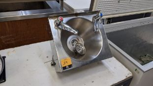 Stainless steel wall mountable hand washing basin including hot & cold taps