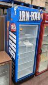 Irn Bru branded tall single clear door display fridge