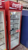 Coca Cola branded Cornelius tall single clear door display fridge