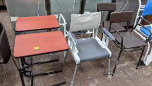 Miscellaneous furniture comprising 4 assorted commode chairs, waterproof chairs & similar plus 2 off
