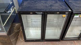 Lec black twin clear door back bar/bottle fridge