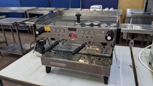 La Marzocco Linea PB 2 Group commercial coffee machine. A sticker on the machine suggests it was man