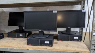 3 off Lenovo desktop computers with Intel i3-6100 3.7GHz processor, 4Gb RAM, 500Gb hard drive, DVD-R