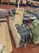 Hand banding equipment comprising wooden trolley with banding reel plus hand banding equipment & cli