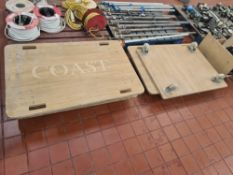 4 off large wooden dollies, 3 of them measuring 1200mm x 800mm & the 4th measuring 1030mm x 800mm