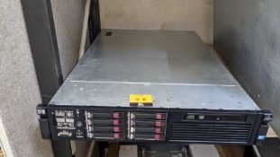 HP DL380 G7 rack mountable server with 2 off 72GB & 6 off 146GB 10K hard drives, 32GB RAM, 2 off Xeo