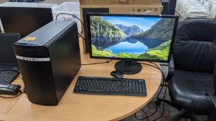 """Desktop computer including Acer 24"""" widescreen monitor, keyboard & mouse"""