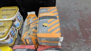 6 off 25kg sacks of Ultra Scape Flowpoint rapid setting grout NB. One of the sacks has a hole in as