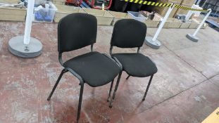 Pair of matching, stacking black upholstered stand chairs