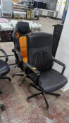 Pair of high back leather/leather-look chairs, one with orange inserts & one with a mesh back suppor