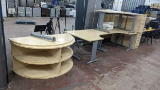 Quantity of matching furniture comprising 3 off curved front desks (one left handed & 2 right handed